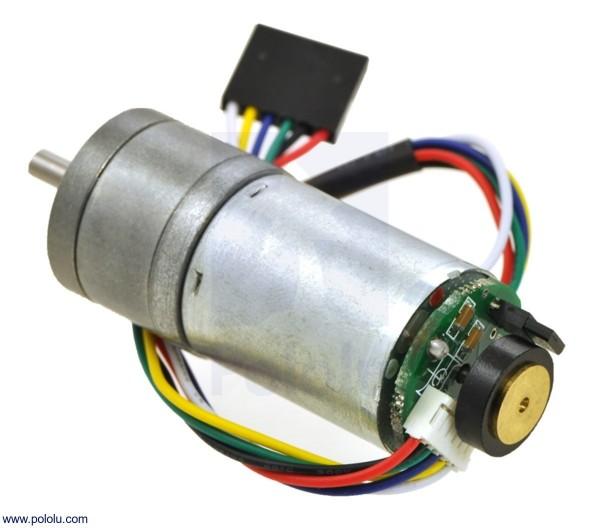 9.7:1 Metal Gearmotor 25Dx48L mm LP 6V with 48 CPR Encoder