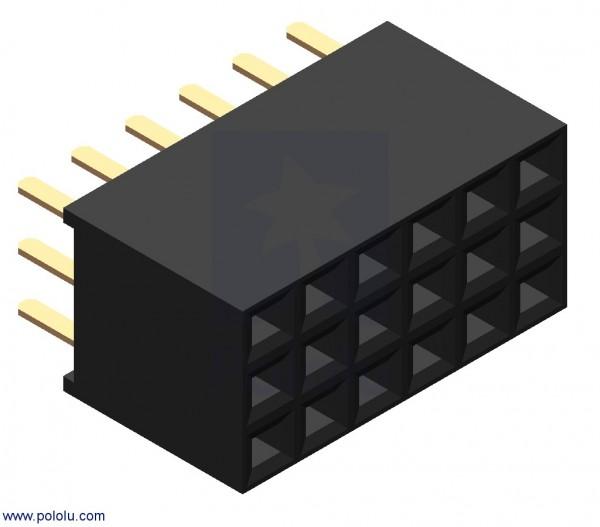 "0.100"" (2.54 mm) Female Header: 3x6-Pin, Straight"