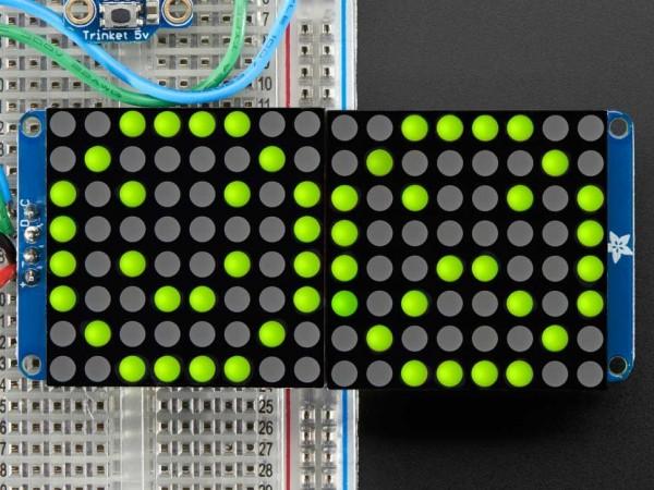 "Adafruit 16x8 1.2"" LED Matrix + Backpack - Ultra Bright Round YellowGreen LEDs"