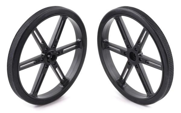 Pololu Wheel for Standard Servo Splines (25T, 5.8mm) - 90×10mm, Black, 2-Pack