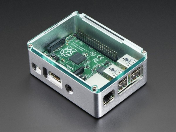 Raspberry Pi B+ / Pi 2 / Pi 3 - Silver Case with Crystal Top by anidées
