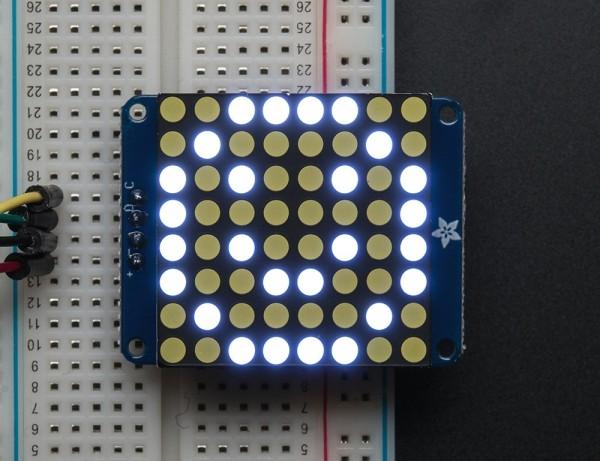 "Adafruit Small 1.2"" 8x8 Ultra Bright White LED Matrix + Backpack"