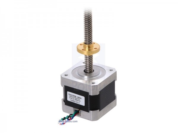 Stepper Motor with 28cm Lead Screw: Bipolar, 200 Steps/Rev, 42x38mm, 2.8V, 1.7 A/Phase