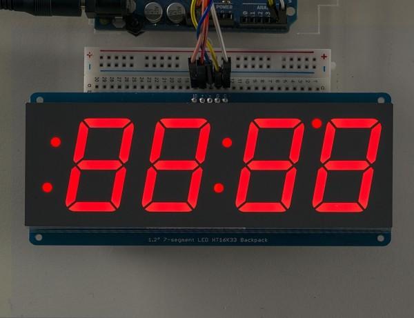 "Adafruit 1.2"" 4-Digit 7-Segment Display w/I2C Backpack - Rot"