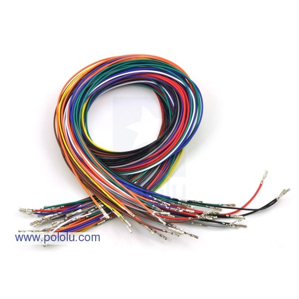 "Wires with Pre-crimped Terminals 50-Piece Rainbow Assortment F-F 24"" (60cm)"