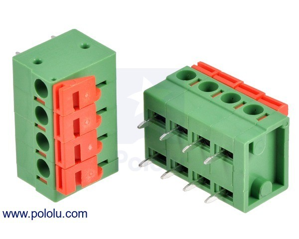 Screwless Terminal Block: 4-Pin, 5.08 mm Pitch, Side Entry (2-Pack)