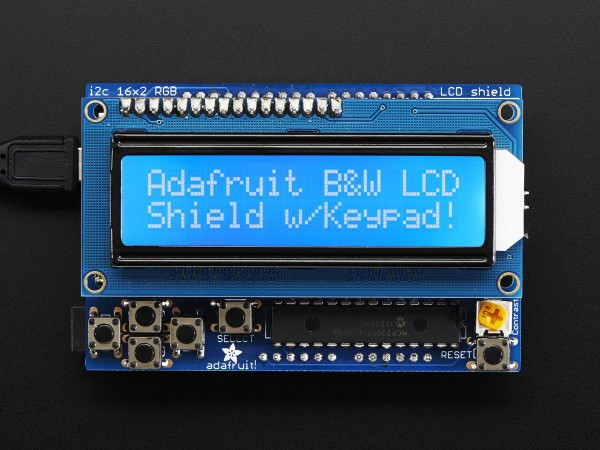 Adafruit LCD Shield Kit w/ 16x2 Character Display - Only 2 pins used! - BLUE AND WHITE