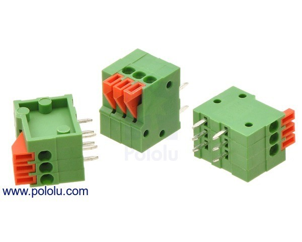 Screwless Terminal Block: 3-Pin, 2.54 mm Pitch, Side Entry (3-Pack)