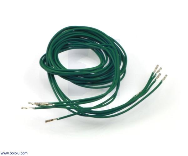 Wires w/ Pre-Crimped Terminals F-F 90cm Green x5