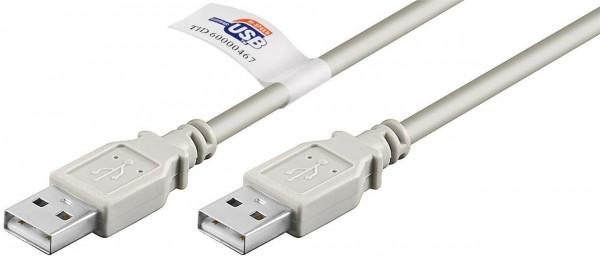 USB 2.0 Hi-Speed Kabel 2m mit USB Zertifikat, Grau