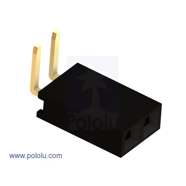 """0.100"""" (2.54 mm) Female Header: 1x2-Pin, Right-Angle (x10)"""