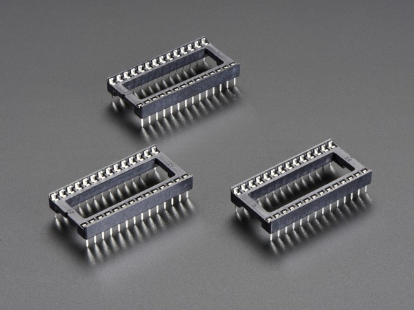 """IC Socket - for 28-pin 0.6"""" Chips - Pack of 3"""