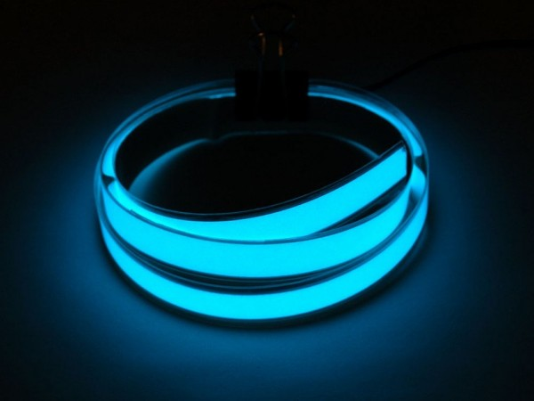 Aqua Electroluminescent (EL) Tape Strip - 100cm w/two connectors