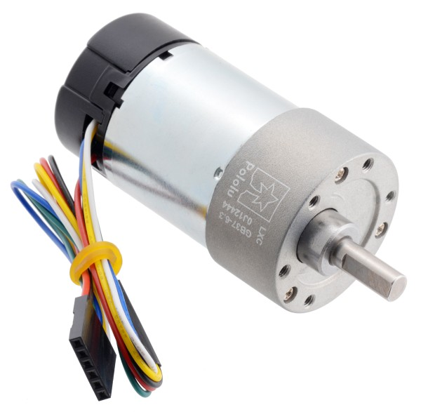 6.3:1 Metal Gearmotor 37Dx65L mm 24V with 64 CPR Encoder (Helical Pinion)
