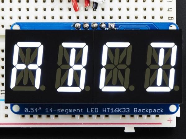 "Adafruit Quad Alphanumeric Display - White 0.54"" Digits w/ I2C Backpack"