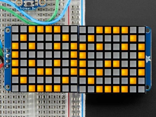 "Adafruit 16x8 1.2"" LED Matrix + Backpack - Ultra Bright Square Yellow LEDs"