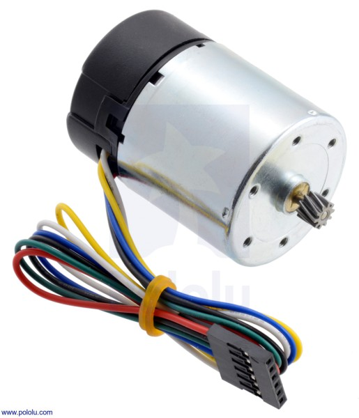 24V Motor with 64 CPR Encoder for 37D mm Metal Gearmotors (No Gearbox, Helical Pinion)