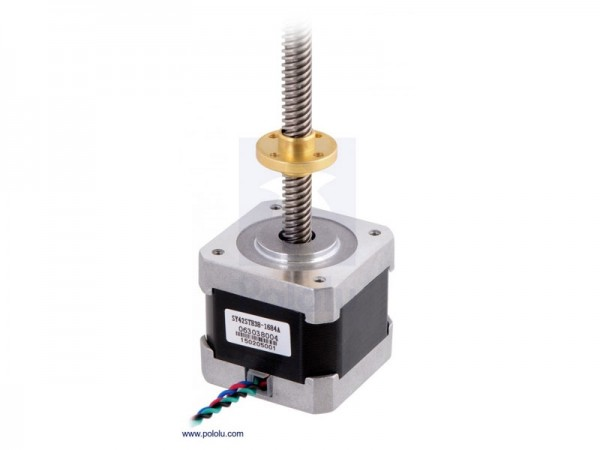 Stepper Motor with 18cm Lead Screw: Bipolar, 200 Steps/Rev, 42x38mm, 2.8V, 1.7 A/Phase