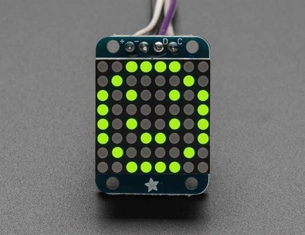 Adafruit Mini 8x8 LED Matrix w/I2C Backpack - Yellow-Green