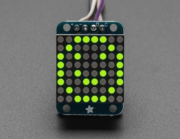Adafruit Mini 8x8 LED Matrix w/I2C Backpack - Gelb-Grün