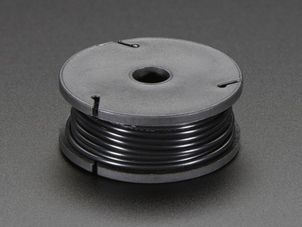Solid-Core Wire Spool - 25ft - 22AWG - Black