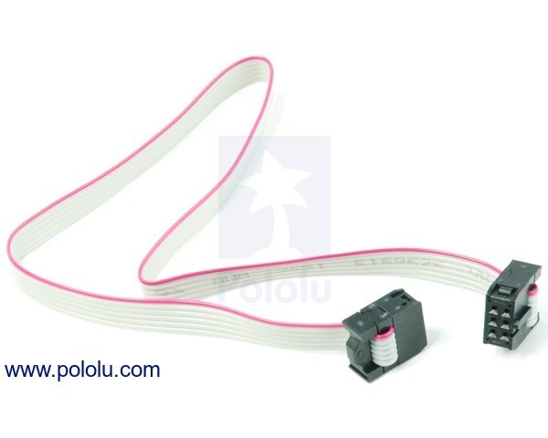 6-Conductor Ribbon Cable with IDC Connectors 30cm