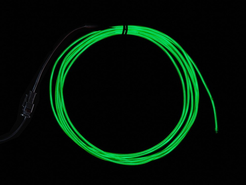 High Brightness Green Electroluminescent (EL) Wire - 2.5 meters ...