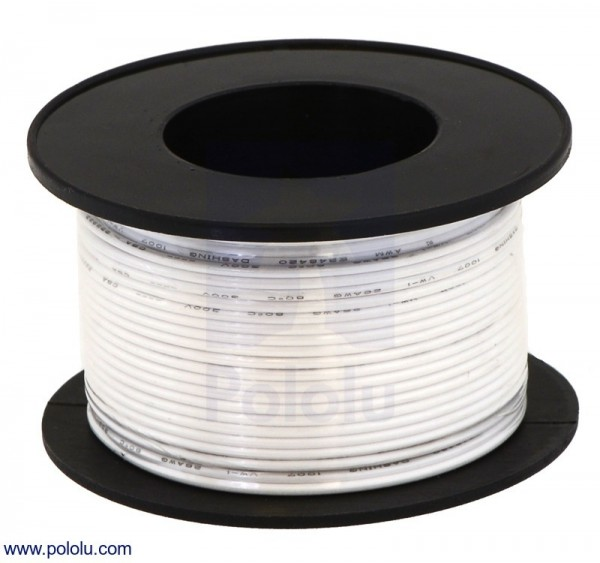 Stranded Wire: White, 28 AWG, 27m