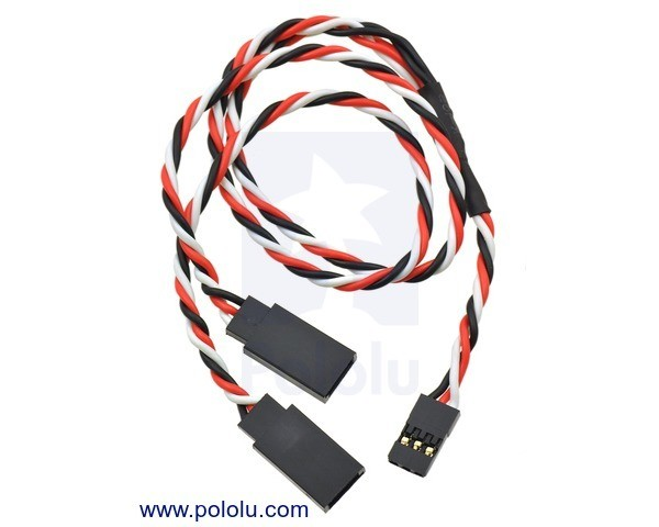 Twisted Servo Y Splitter Cable 30cm Female - 2x Male