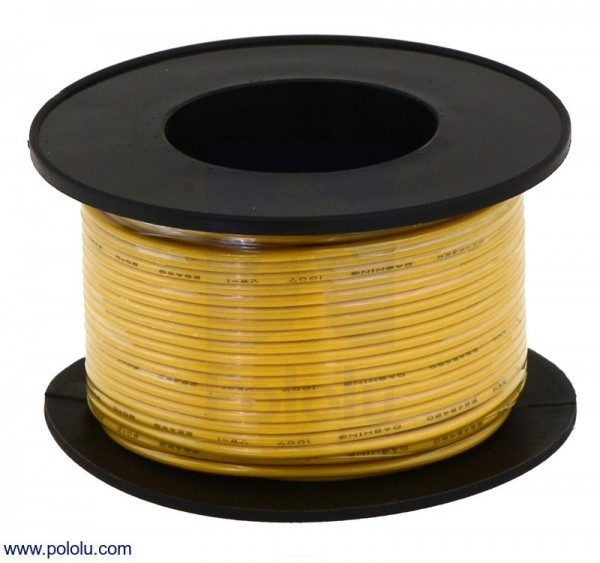 Stranded Wire: Yellow, 26 AWG, 21m