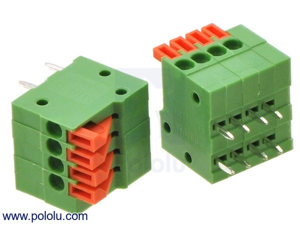 Screwless Terminal Block: 4-Pin, 2.54 mm Pitch, Side Entry (2-Pack)