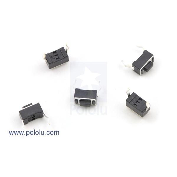 Mini Pushbutton Switch: PCB-Mount, 2-Pin, SPST, 50mA (5-Pack)