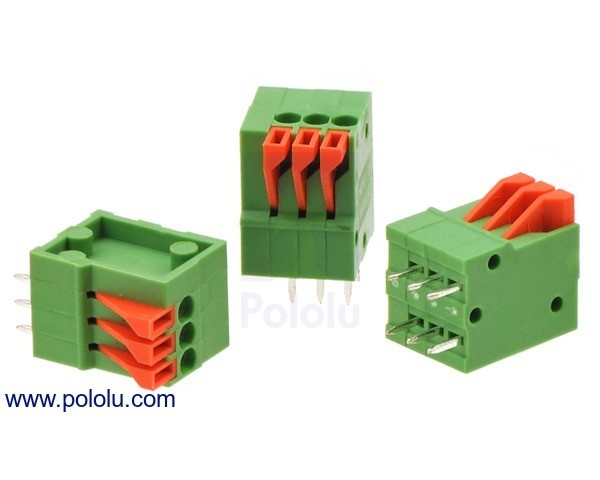 Screwless Terminal Block: 3-Pin, 2.54 mm Pitch, Top Entry (3-Pack)
