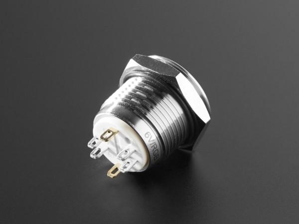 Robuste Metall Drucktaste (16 mm, 6 V, RGB Momentary)