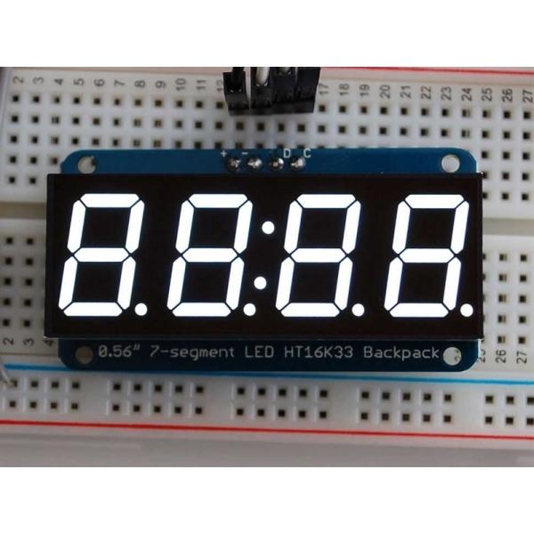 "Adafruit 0.56"" 4-Digit 7-Segment Display w/I2C Backpack - White"