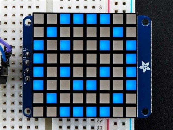 "Adafruit Small 1.2"" 8x8 Ultra Bright Square Blue LED Matrix + Backpack"