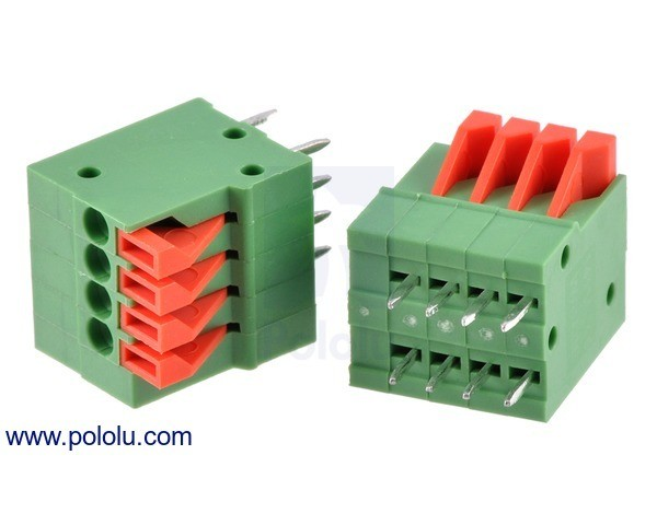 Screwless Terminal Block: 4-Pin, 2.54 mm Pitch, Top Entry (2-Pack)
