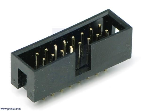 """Ummantelte (shrouded) Header: 2×8-Pin, 0.100"""" (2.54 mm) Male"""