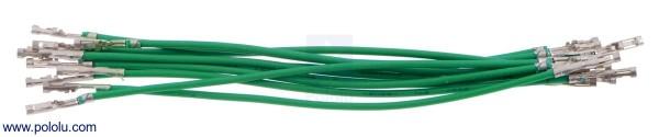 Wires w/ Pre-Crimped Terminals F-F 75mm Green x10