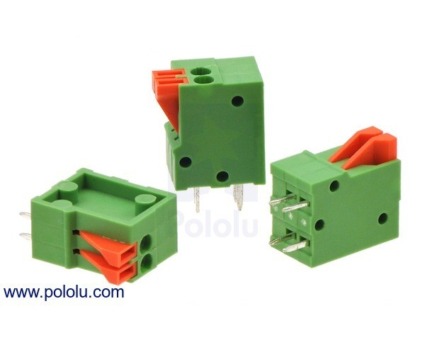 Screwless Terminal Block: 2-Pin, 2.54 mm Pitch, Top Entry (3-Pack)