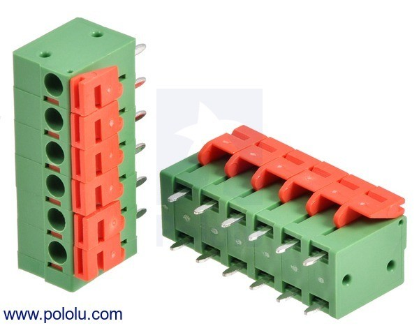 Screwless Terminal Block: 6-Pin, 5.08 mm Pitch, Top Entry (2-Pack)