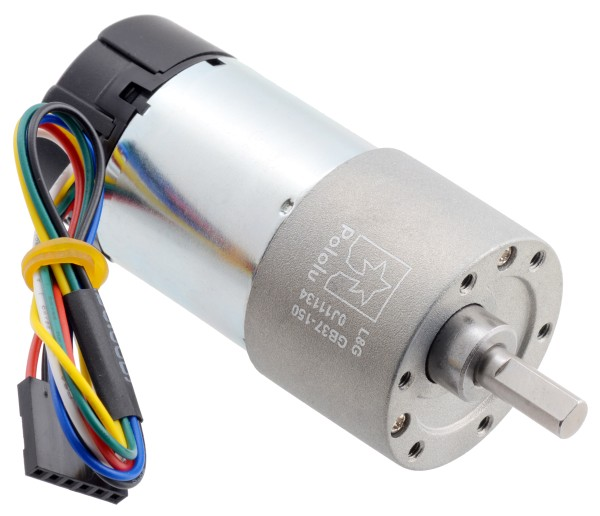 150:1 Metal Gearmotor 37Dx73L mm 24V with 64 CPR Encoder (Helical Pinion)