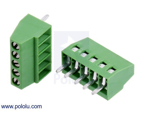 Screw Terminal Block: 5-Pin, 2.54mm Pitch, Side Entry (2-Pack)