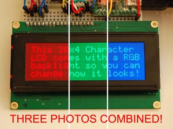 Adafruit RGB backlight negative LCD 20x4 + extras