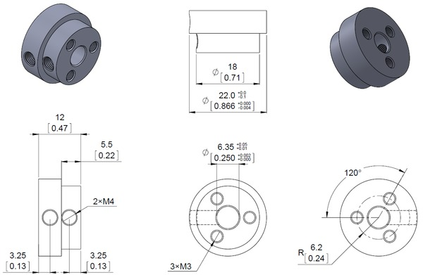 Dimension diagram of the Pololu aluminum scooter wheel adapter threaded mount for 1/4