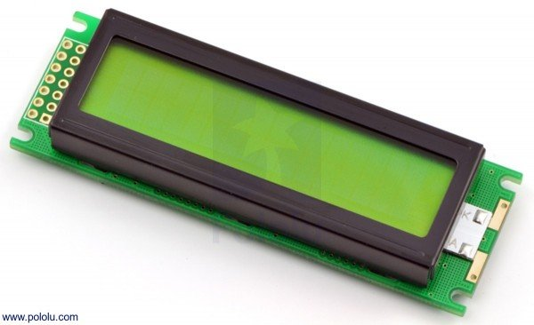 16x2 Character LCD mit LED Backlight (Parallel Interface), schwarz auf grün