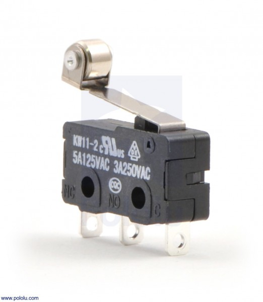 Snap-Action Switch with 16.3mm Roller Lever: 3-Pin, SPDT, 5A