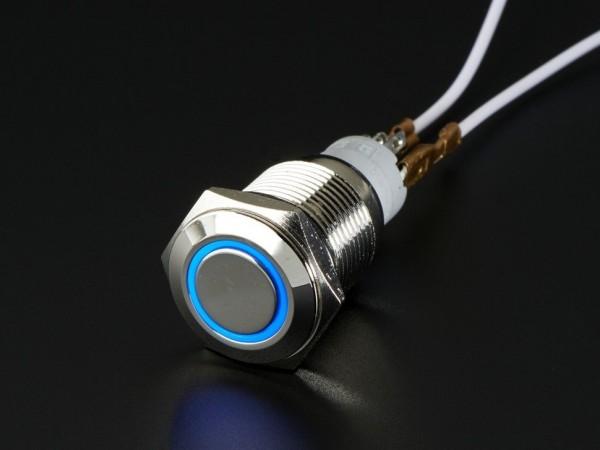 Robuster Metall Ein/Aus-Schalter mit blauem LED Ring (16 mm)