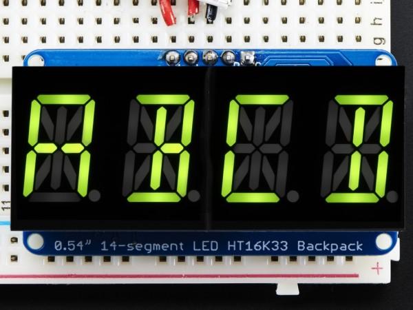 "Adafruit Quad Alphanumeric Display -Yellow-Green 0.54"" Digits w/ Backpack"