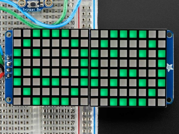 "Adafruit 16x8 1.2"" LED Matrix + Backpack - Ultra Bright Square Green LEDs"